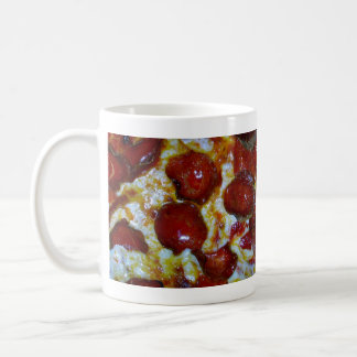 View of a Pepperoni Pizza Basic White Mug