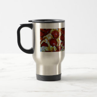 View of a Pepperoni Pizza Stainless Steel Travel Mug
