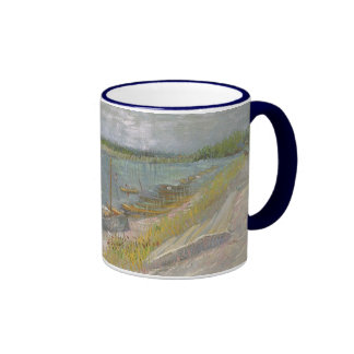 View of a River w Rowing Boats by Vincent van Gogh Ringer Mug