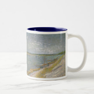 View of a River w Rowing Boats by Vincent van Gogh Two-Tone Mug