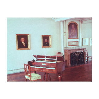 View of a room with a grand piano canvas print