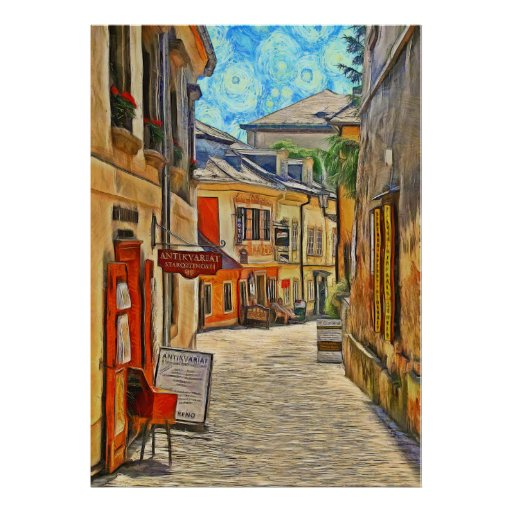 View of a side street in the town of Kutná Hora. Poster
