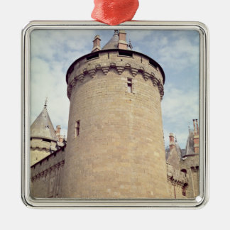 View of a tower of the chateau christmas ornament