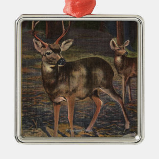 View of a Wild Buck & Doe Christmas Ornament
