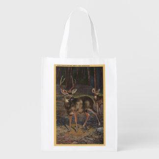 View of a Wild Buck Doe Reusable Grocery Bag