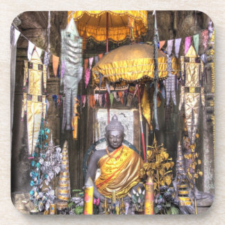 View of altar area inside Buddhist temple, Drink Coaster