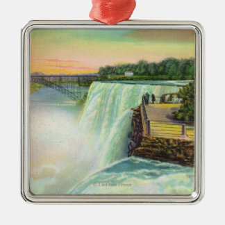 View of American Falls from Goat Island Silver-Colored Square Decoration