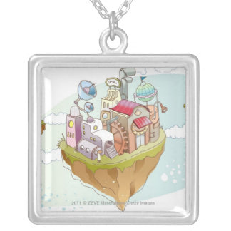 View of an colorful abstract illustration silver plated necklace