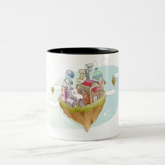 View of an colorful abstract illustration Two-Tone coffee mug
