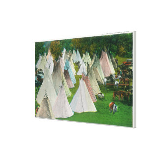 View of an Indian Village and Pendleton Canvas Print