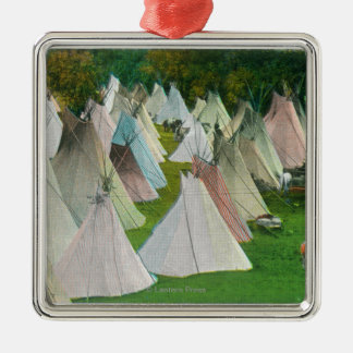 View of an Indian Village and Pendleton Christmas Ornament
