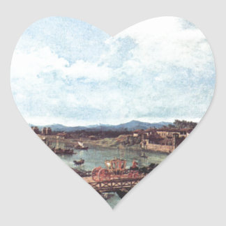 View of an Old Bridge Over the River Po, Turin Heart Sticker