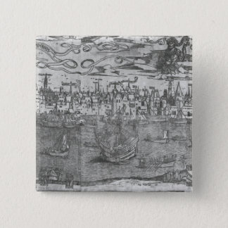View of Antwerp Harbour 15 Cm Square Badge