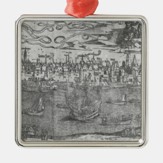 View of Antwerp Harbour Silver-Colored Square Decoration