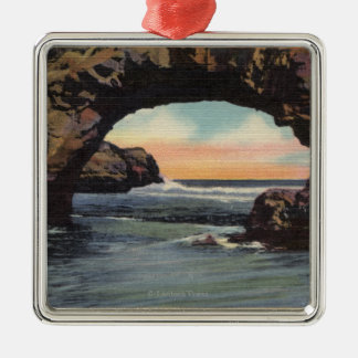 View of Arch Rock along West Cliff Drive Silver-Colored Square Decoration