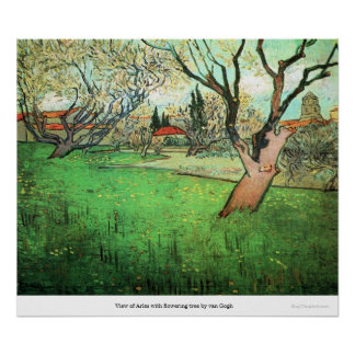 View of Arles with flowering tree by van Gogh Print