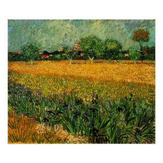 View of Arles with Irises in the Foreground Poster