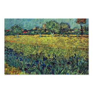 View Of Arles With Irises In The Foreground, Poster
