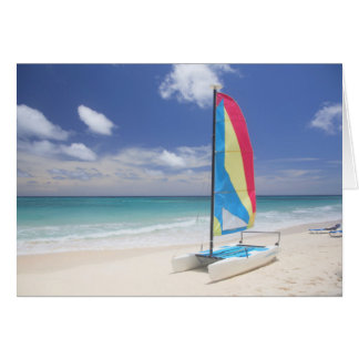 View Of Beach With Sailboat Card