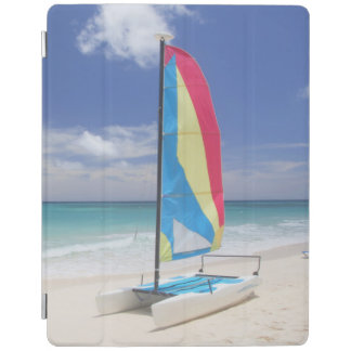 View Of Beach With Sailboat iPad Cover
