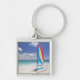 View Of Beach With Sailboat Key Ring