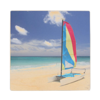 View Of Beach With Sailboat Wood Coaster