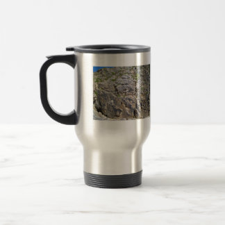 View of Beautiful Mountain with small bushes Stainless Steel Travel Mug