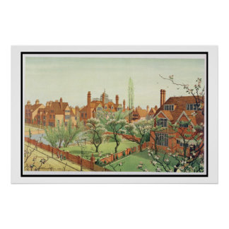 View of Bedford Park, 1882 (colour litho) Poster