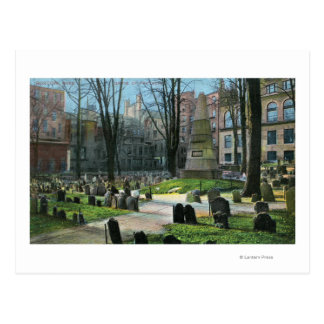 View of Ben Franklin's Tombstone Postcard
