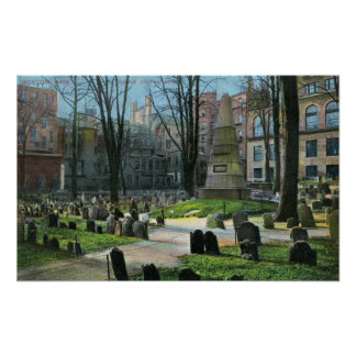 View of Ben Franklin's Tombstone Posters