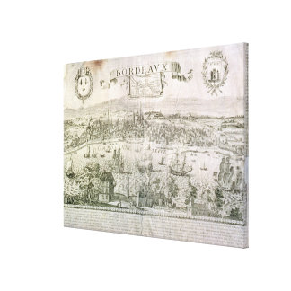 View of Bordeaux and the river Garonne, signed by Canvas Print