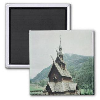 View of Borgund stave church, c.1150 Square Magnet