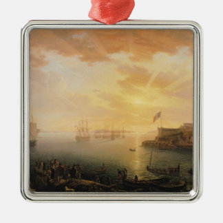 View of Brest Harbour, 1796 Silver-Colored Square Decoration
