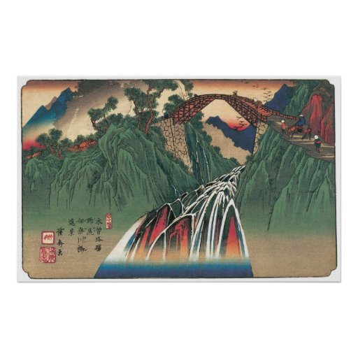 View of Bridge Over Ina River, Nojiri by Hiroshige Poster