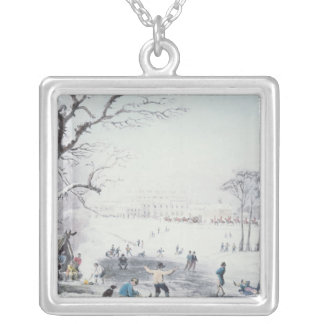 View of Buckingham House, James Park in Winter Silver Plated Necklace