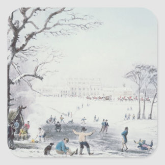 View of Buckingham House, James Park in Winter Square Sticker