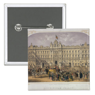 View of Buckingham Palace with a Crowd Outside 15 Cm Square Badge