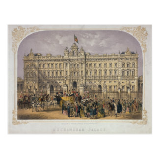 View of Buckingham Palace with a Crowd Outside Postcard