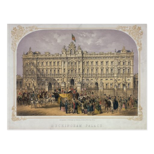 View of Buckingham Palace with a Crowd Outside Post Card