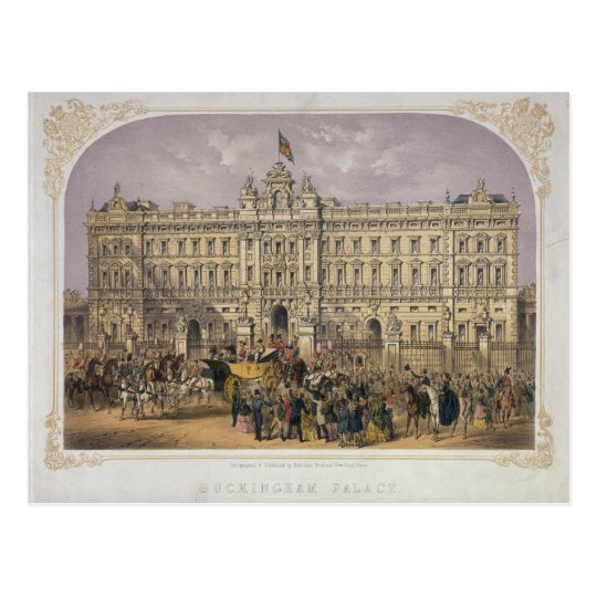 View of Buckingham Palace with a Crowd Outside