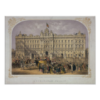 View of Buckingham Palace with a Crowd Outside Poster