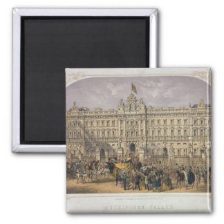 View of Buckingham Palace with a Crowd Outside Square Magnet