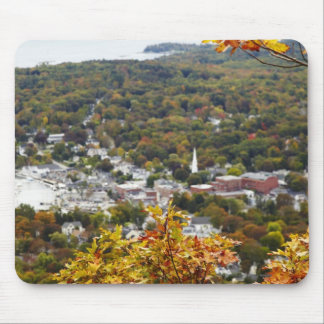 View of Camden Hills State through Fall Trees Mouse Mat