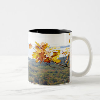 View of Camden Hills State through Fall Trees Two-Tone Mug