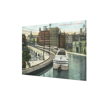 View of Canal Boats going over the Aqueduct Canvas Print