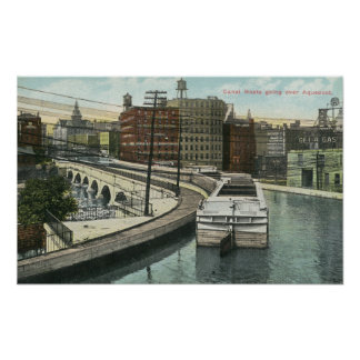 View of Canal Boats going over the Aqueduct Poster