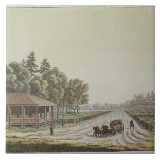 View of Capitol Hill, Washington (colour engraving Tile