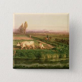 View of Carditello (oil on canvas) 15 Cm Square Badge