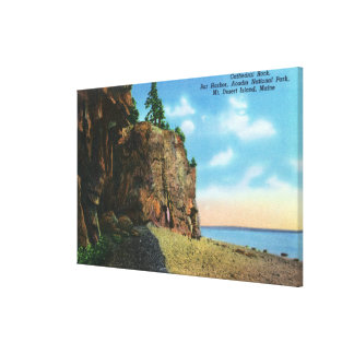 View of Cathedral Rock, Bar Harbor Stretched Canvas Prints