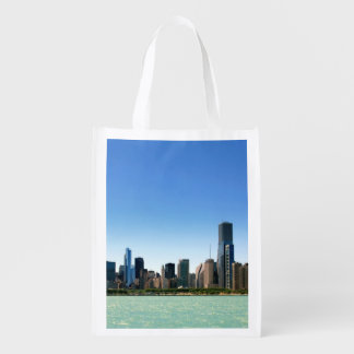 View of Chicago skyline by Lake Michigan